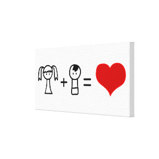 Cute boy and girl love doodle canvas print
