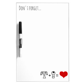 Cute boy and girl love doodle dry erase board