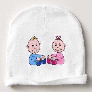 CUTE BOY AND GIRL TWIN BABIES BABY BEANIE