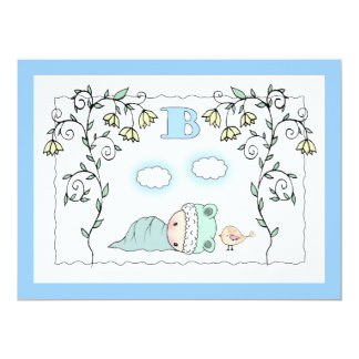 Cute Boy Baby shower Invites Baby and Bird