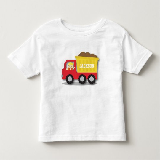 Cute Boy Builder Red Construction Dump Truck Toddler