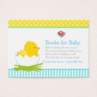 Cute Boy Chick Book Request for Baby Shower Business Card