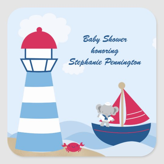 Cute boy elephant sailor baby shower stickers