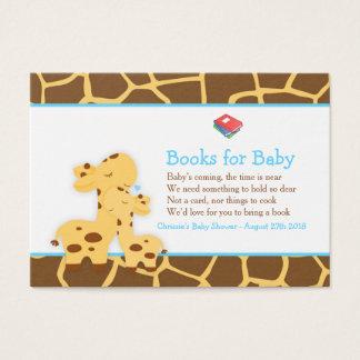 Cute Boy Giraffe Book Request for Baby Shower Business Card