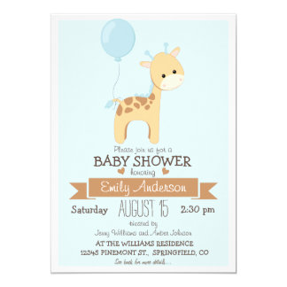 Cute Boy Giraffe, Jungle Zoo Animal Baby Shower 13 Cm X 18 Cm Invitation Card
