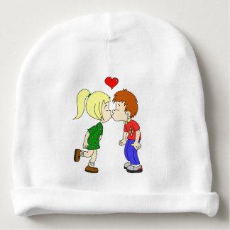 Cute boy girl kiss cartoon baby beanie