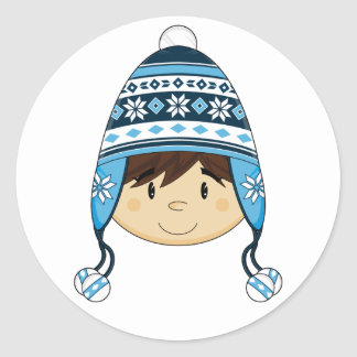 Cute Boy in Bobble Hat Sticker