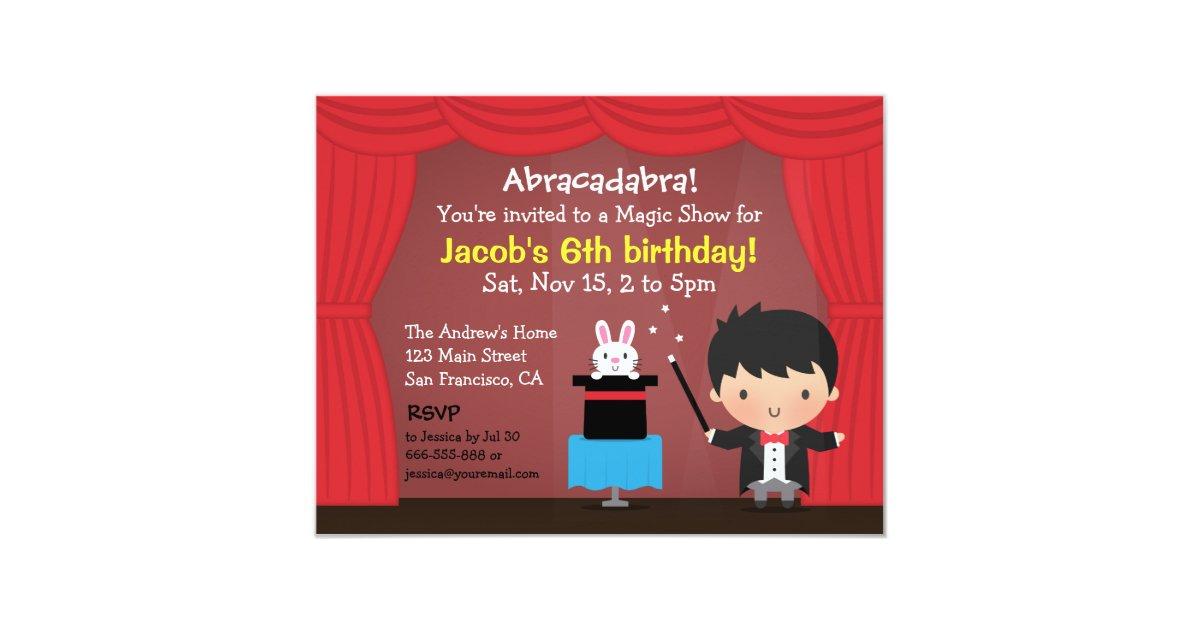 Cute Boy Magician Magic Birthday Party Invitations | Zazzle.co.uk