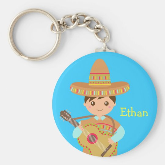 Cute boy Mexican Sombrero Hat Guitar Fiesta Basic Round Button Key Ring