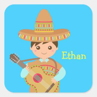 Cute boy Mexican Sombrero Hat Guitar Fiesta Square Sticker