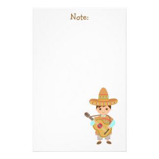 Cute boy Mexican Sombrero Hat Guitar Fiesta Stationery Design