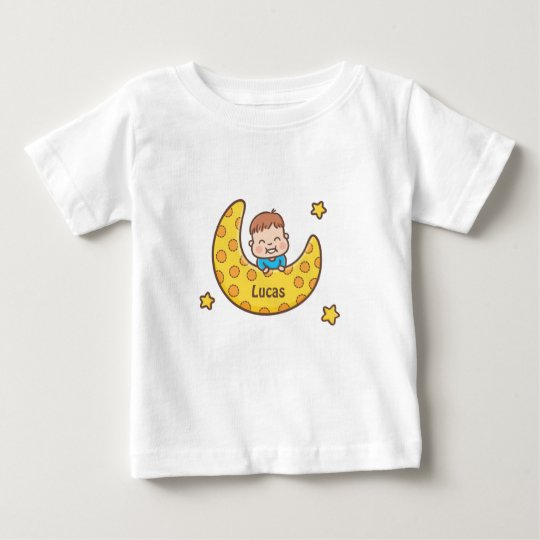 Cute Boy on the Moon Baby Tee
