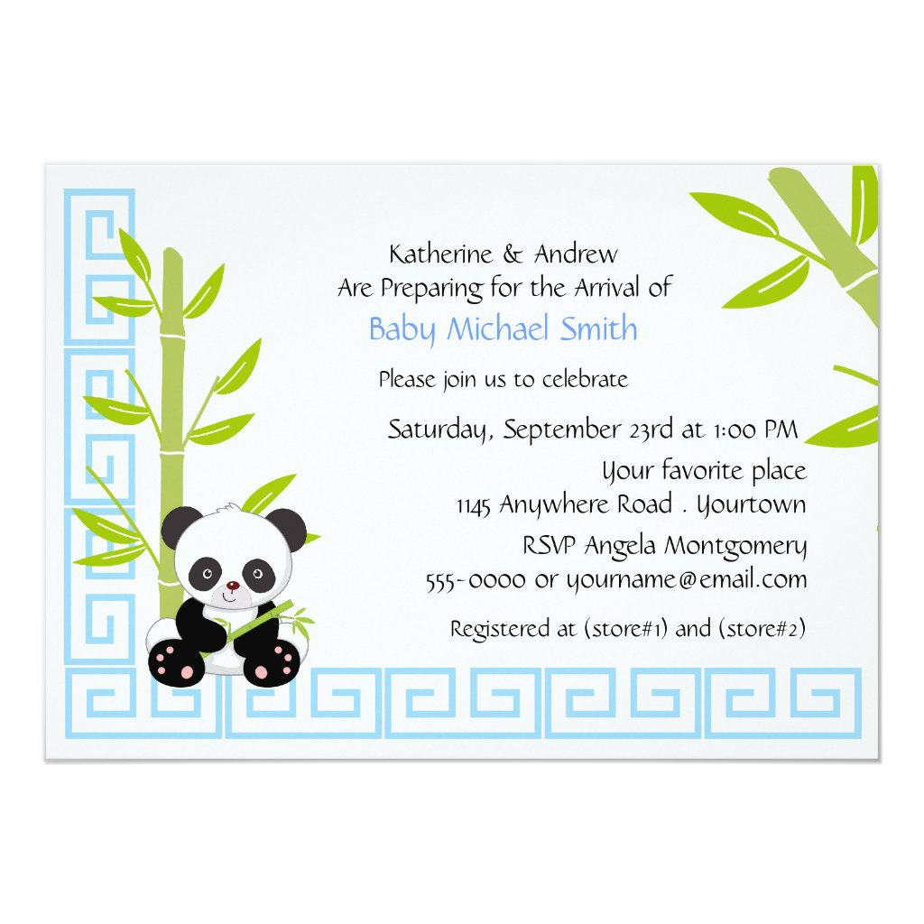 Cute Boy Panda Baby Shower