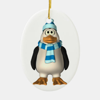 Cute Boy Penguin in Scarf and Cap Ornament