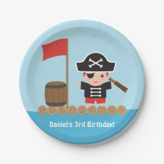 Cute Boy Pirate Treasure Hunt Birthday Party Paper Plate