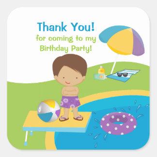 Cute Boy Pool Party Birthday Sticker
