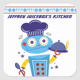 Cute boy robot chef food service catering cooking square sticker