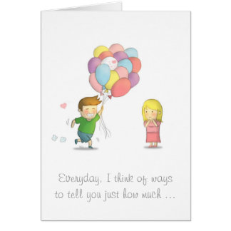 Cute Boy Shares His Love to Girl with Balloons Greeting Card