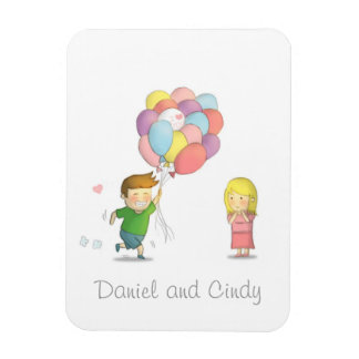 Cute Boy Shares His Love to Girl with Balloons Vinyl Magnet