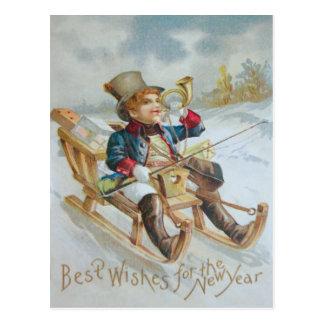 Cute Boy Sled Snow Horn Presents Postcard