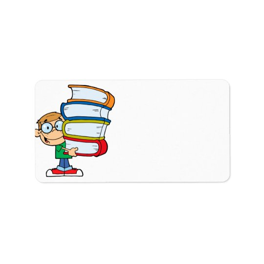 cute boy student with lots of books label