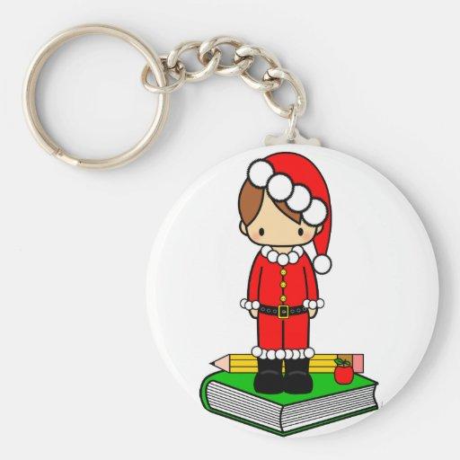 Cute boy teacher/student dressed in Santa suit Keychain