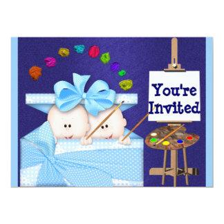 Cute BOY TWINS BABY SHOWER  INVITATION
