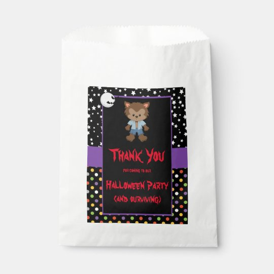 Cute Boy Werewolf Halloween Party Favour Bags