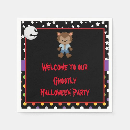Cute Boy Werewolf Halloween Party Paper Napkin