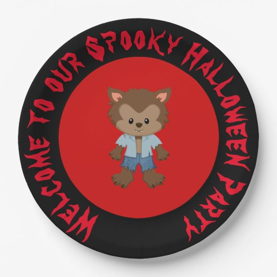 Cute Boy Werewolf Halloween Party Paper Plate