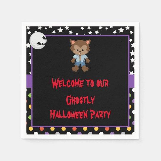 Cute Boy Werewolf Halloween Party Paper Serviettes