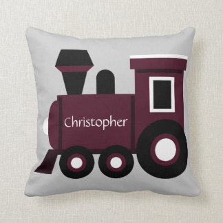 Cute Boy's Pillow, Maroon Train w/ Name Cushion