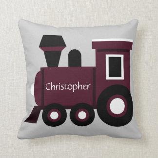 Cute Boy's Pillow, Maroon Train w/ Name Throw Pillow