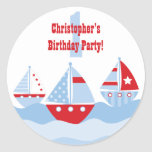Cute boy's sailboats birthday party stickers