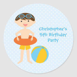Cute boy's summer pool party birthday stickers