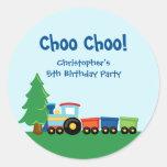 Cute boy's train birthday party stickers