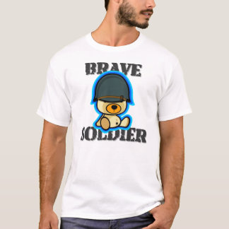 Cute brave soldier teddy bear in dark shirt