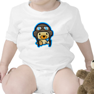 Cute brave teddy bear pilot baby tee shirt
