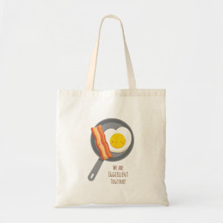 Cute Breakfast Bacon and Egg Tote Bag