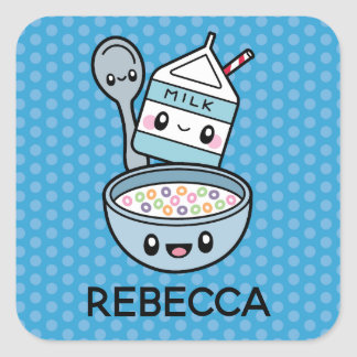 Cute Breakfast Food cereal & milk square stickers
