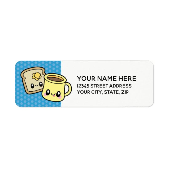 Cute Breakfast Food coffee & toast address labels