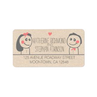 cute bride and groom illustration wedding labels