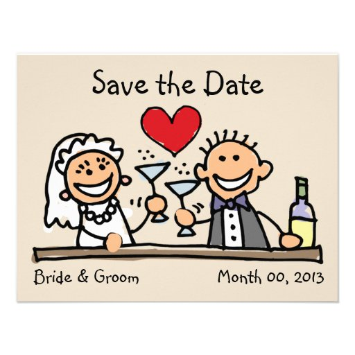 Cute Bride and Groom Save the Date Cards Custom Invites