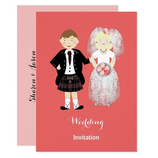 Cute Bride and Groom Scottish Wedding Theme Card