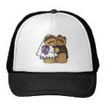 cute bride and groom teddy bear design hats