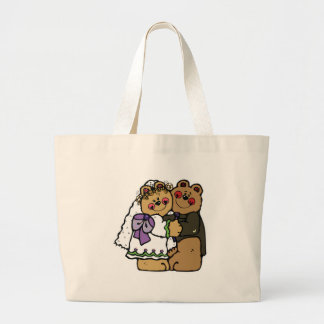 cute bride and groom teddy bear design large tote bag