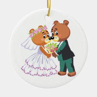 cute bride and groom teddy bears design wedding christmas ornament
