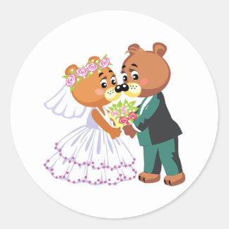 cute bride and groom teddy bears design wedding classic round sticker