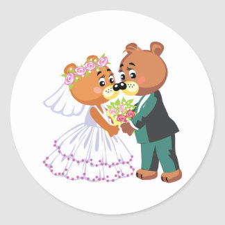 cute bride and groom teddy bears design wedding round sticker