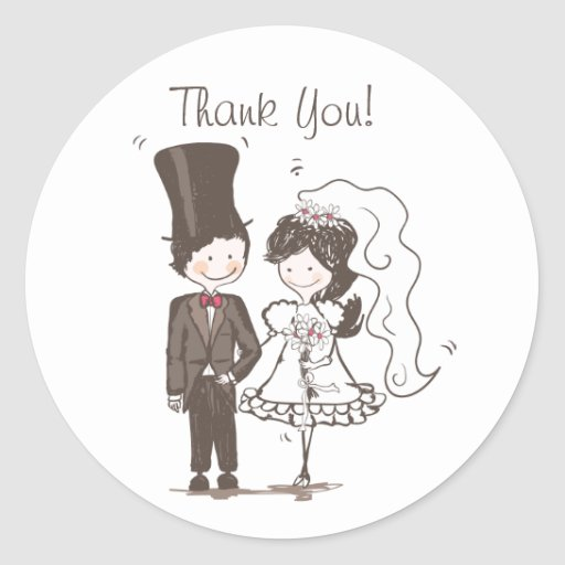"Cute Bride and Groom ""Thank You"" Stickers"